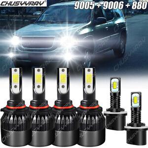 For GMC Envoy XL 2002-2006 6x 9005 9006 880 LED Headlight+Fog Light Bulbs Combo