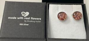 925 Sterling Silver Shrieking Violet Earrings in Box J1