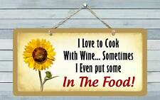 """348HS I Love To Cook With Wine 5""""x10"""" Aluminum Hanging Novelty Sign"""