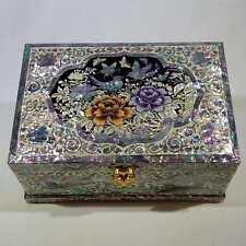 Korean Mother of Pearl Wooden Jewelry Box with Peony, Birds, Butterflies & Crane