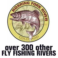Roaring Fork River Sticker Fly Fishing fish decal GUARANTEE 3 yrs no fade