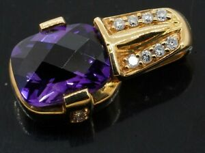 Designer 18K yellow gold 1.68CT VS2/G diamond & amethyst pendant