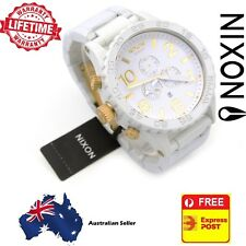 Nixon 51-30 Chrono White and Gold Mens Watch A083-1035 A0831035 Stainless Steel