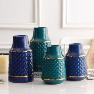 Honeycomb Ceramic Vase Home Decor Navy Green Golden Neck Tablecut Decoration