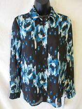 Derek Lam Casual Reg Size S Black Geometric Button Blouse SR $48 NEW