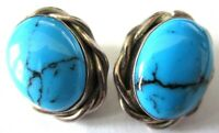TAXCO Sterling Silver 925 Genuine Turquoise Vintage Clip Earrings