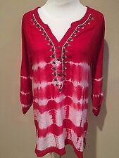 NWT Women's Red Bandolino 3/4 Sleeve Blouse Top Medium