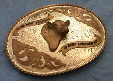 VTG HUGE **1987 TEXAS RICE FESTIVAL** BEEF LIVESTOCK CHAMPION TROPHY BELT BUCKLE