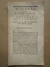 [THEOPHILANTROPIE] DISCOURS SUR LA CONSTANCE ET LE COURAGE, 1798.