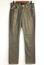 """NWT Rock And Republic Womens Sz 10 M Berlin Skinny Gold Shimmer Jeans Waist 33"""""""