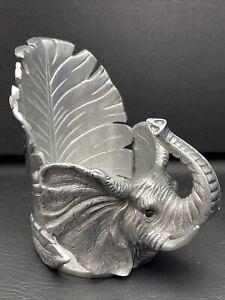 Arthur Court African Safari Elephant Wine Caddy Or Candle Holder Aluminum 2004