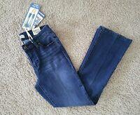 """""""NEW"""" BLUE SPICE Women's Blue Jeans Soft Denim Distressed Dark Wash Crop~Size 1"""