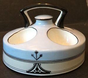 "Vintage Art Deco Noritake ""M"" Blue/Black Hand-Painted Egg Warmer w/ Stopper"