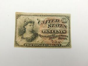 1863 $.10 Fourth Issue Fractional Currency Obsolete Bank Note Bill! (172)
