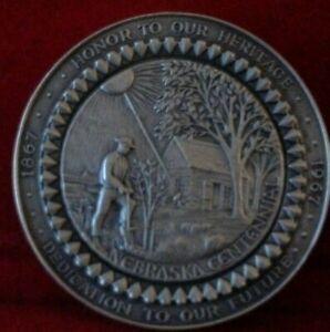 1967 Nebraska Centennial .999 Fine Silver 59.1 Gram Medal by Medallic Art Co.