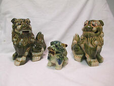 2 COLLECTIBLE VINTAGE Green PORCELAIN CERAMIC ASIAN FOO DOGS STATUES FIGURINES