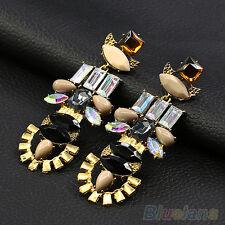 EP_ Womens Sexy Crystal Noble Elegant Alloy Ear Studs Dangle Linear Earrings Jew