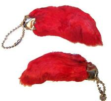 2 RED COLORED RABBIT FOOT KEY CHIANS novelty bunny fur hair feet ball chain NEW