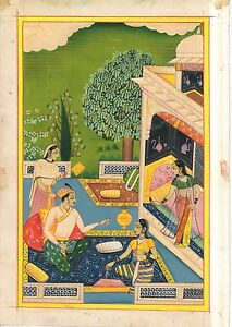 Mughal Empire Harem Historical Miniature Painting Old Paper Watercolor Indian