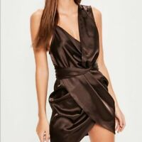 Missguided Womens Satin Knot Front Assymetric Dress Brown Size 8