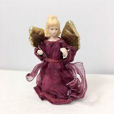 Small Porcelain Angel Tree Topper Burgundy Wine Maroon Ornament