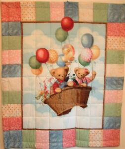 Baby or Child Quilt, Blue Jean Teddies & Friends Reversible 2 Sides Cotton New
