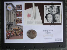 GB 2002 Queens Golden Jubilee booklet pane + S Leone $1 coin on Mercury FDC