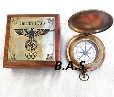 Antique Nautical Brass Wooden Box Compass Maritime compass Gift