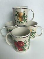 Set of 4 Coffee Mugs by SAKURA Oneida Excell Stoneware SONOMA Fruit 10 oz EUC