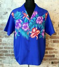 New listing Vtg Og Hawaiian Shirt Helenas Aloha Travel Camp Blue Purple Thin Polyester Xl