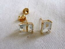 1.33 TCW Natural Aquamarine Stud Earrings 10K Yellow Gold Setting Emerald Cut