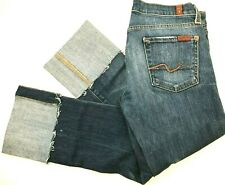 Seven For All Mankind Cropped Jeans Dark Wash Stretch Cuff Size 26