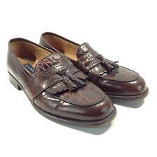 BOSTONIAN FLORENTINE Men's Brown Burgundy Textured Tassel Loafers Size 9.5M, EUC