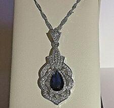 PE Vintage Deco Style Blue Sapphire Sim Diamond White Gold Pendant Chain Plum UK