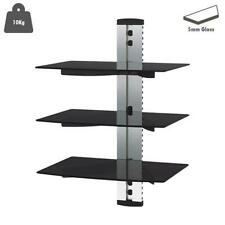 3 TIER SILVER FLOATING GLASS WALL MOUNT SHELF DVD PLAYER GAME CONSOLE SKY BOX UK