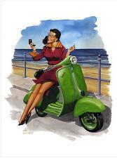 Retro Vespa and Damsel - Scooter, Vespa, Lambretta Print