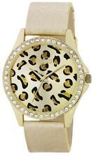 Rebel Ladies Gold Stones Set Case & Leopard Pattern Dial Gold Strap Watch