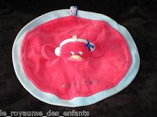 Doudou plat rond Poule Poussin Oiseau rose et bleu Sucre d'Orge
