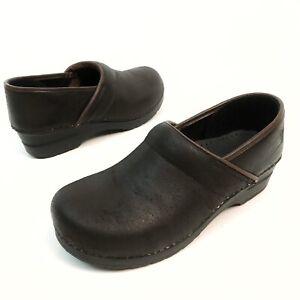 ✅❤️✅@ Sanita Women Professional Nursing Clogs 9- 9.5 EU40 Platform Brown Leather