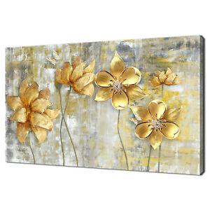 BEAUTIFUL 3D GOLDEN FLOWERS BUTTERFLY MODERN CANVAS PRINT WALL ART PICTURE