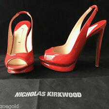 NEW NICHOLAS KIRKWOOD LIPSTICK RED PATENT SLINGBACK PLATFORM HEELS PUMPS 36.5