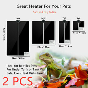 2pcs Pet Electric Reptile Heating Mat Pad Warmer for Hermit Crab Frog Lizard AU