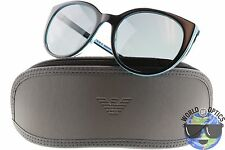 Emporio Armani Sunglasses EA4043 5350/87 Black/Blue Trim w/Grey Mirror Lens 55mm