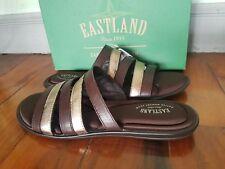 New EASTLAND Phoebe Leather Brown Gold Slides Sandals Sz 11