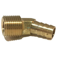 "1/2"" HOSE ID TO 1/2"" MALE NPT MNPT 45 DEGREE BRASS ELBOW FITTING   WOG"