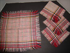 Vintage Linen Red,White,Black,Yellow Plaid Napkins Fringed lot of 4