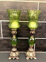 Vtg Pair Green Brass Tone Glass Votive Candle Holders Sticks Candelabra Regency