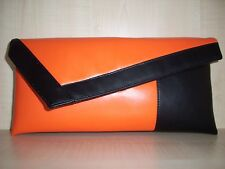 ORANGE & BLACK faux leather asymmetrical clutch bag, fully lined made in the UK