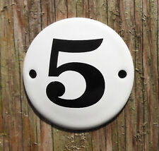 CLASSIC ENAMEL HOUSE NUMBER SIGN. BLACK No.5 ON A WHITE BACKGROUND, 5.8cm.