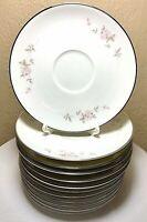 """12 Vintage Noritake Bellemead Saucer Plate 6314 White Rose Platinum 6"""" Set MINT"""